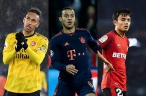 Pierre-Emerick Aubameyang of Arsenal, Thiago Alcantara of Bayern Munich, Takefusa Kubo of RCD Mallorca