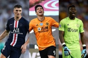 Thomas Meunier of Paris Saint-Germain, Raul Jimenez of Wolves, Andre Onana of Ajax