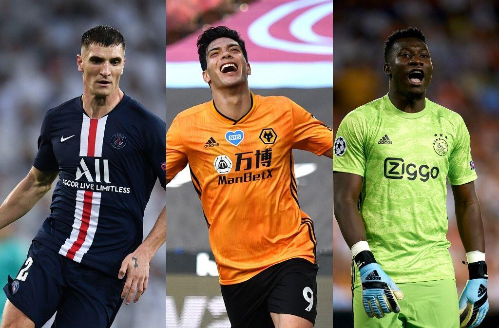 Thomas Meunier of Paris Saint-Germain, Raul Jimenez of Wolves, Andre Onana of Ajax
