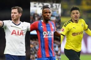Jan Vertonghen of Tottenham, Wilfried Zaha of Crystal Palace, Jadon Sancho of Borussia Dortmund