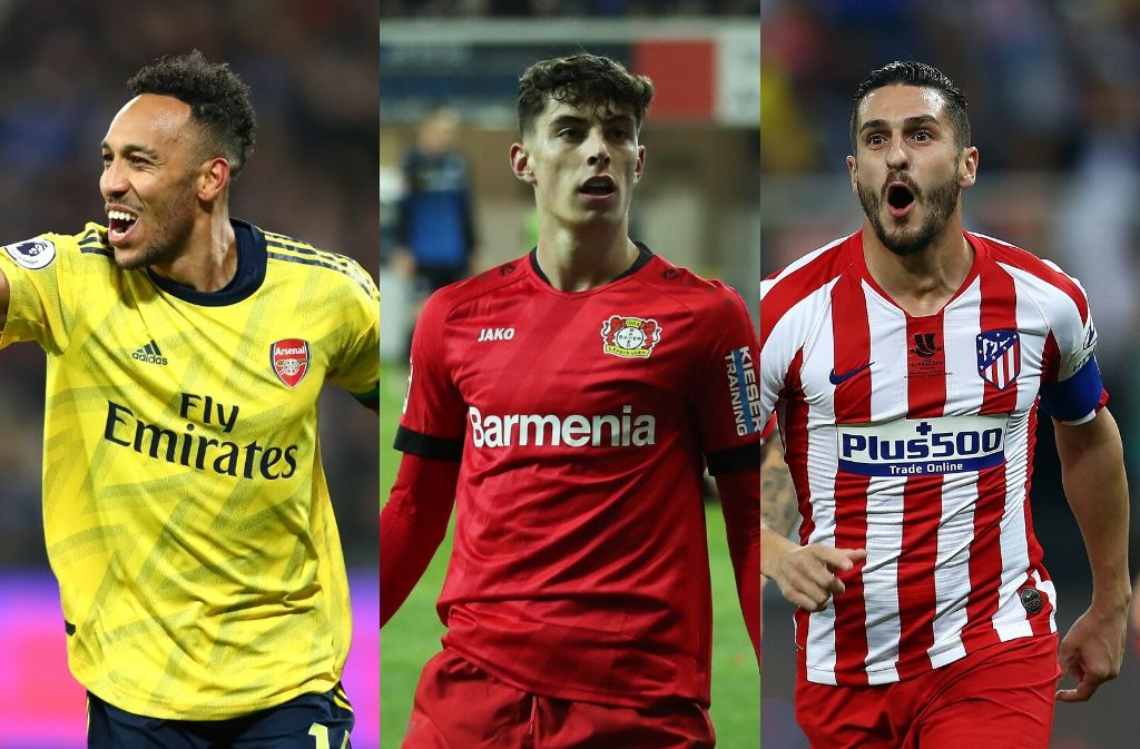 Pierre-Emerick Aubameyang of Arsenal, Kai Havertz of Bayer Leverkeusen, Koke of Atletico Madrid