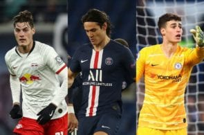 Patrik Schick of RB Leipzig, Edinson Cavani of Paris Saint-Germain, Kepa Arrizabalaga of Chelsea