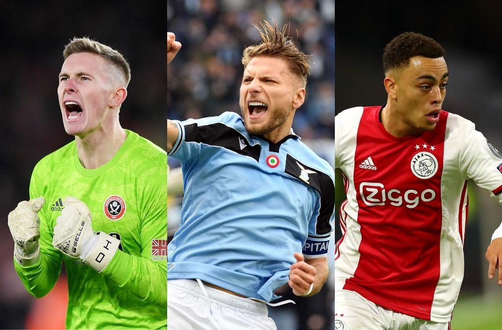 Dean Henderson of Sheffield United, Ciro Immobile of Lazio, Sergino Dest of Ajax