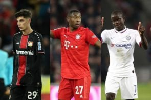 Kai Havertz of Bayer Leverkeusen, David Alaba of Bayern Munich, N'Golo Kante of Chelsea