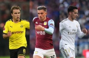 Mario Gotze of Borussia Dortmund, Jack Grealish of Aston Villa, Lucas Vazquez of Real Madrid