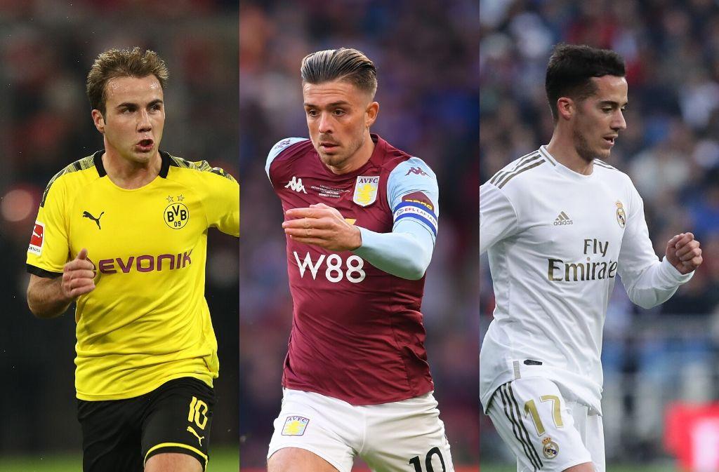Mario Gotze of Borussia Dortmund, Jack Grealish of Aston Villa, Lucas Vazquez of Real Madrid