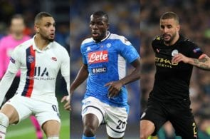 Laywin Kurzawa of Paris Saint-Germain, Kalidou Koulibaly of Napoli, Kyle Walker of Manchester City