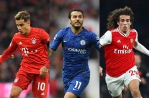 Philippe Coutinho of Bayern Munich, Pedro Rodriguez of Chelsea, Matteo Guendouzi of Arsenal