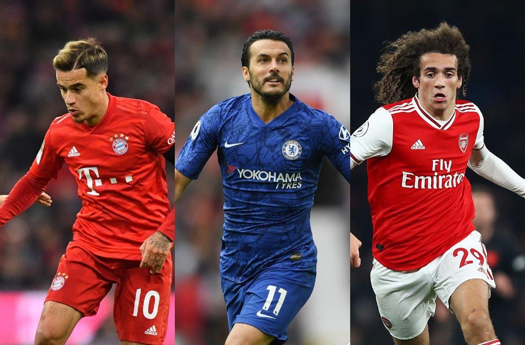 Philippe Coutinho of Bayern Munich, Pedro Rodriguez of Chelsea, Matteo Guendouzi of Arsenal