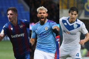 Enis Bardhi of Levante, Sergio Aguero of Manchester City, Sandro Tonali of Brescia