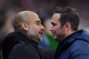 Pep Guardiola of Manchester City, Frank Lampard of Chelsea