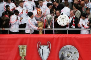 Bayern Munich celebrate winning the Bundesliga, Champions League, and DFB Cup