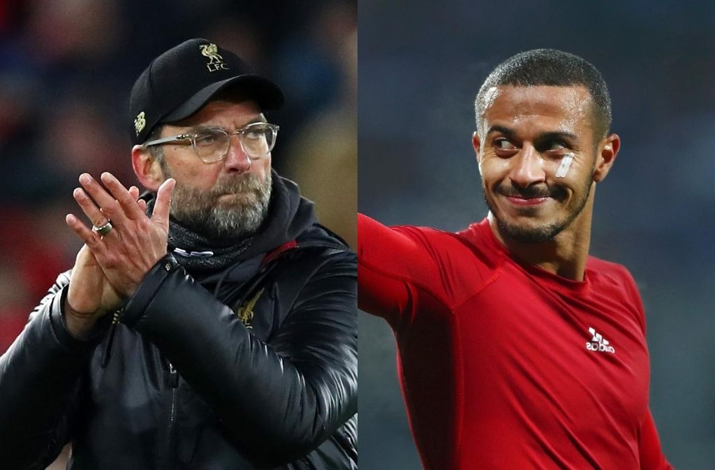Jurgen Klopp of Liverpool, Thiago Alcantara of Bayern Munich