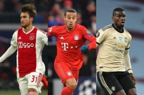 Nicolas Tagliafico of Ajax, Thiago Alcantara of Bayern Munich, Paul Pogba of Manchester United