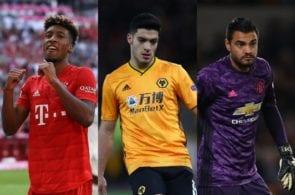 Kingsley Coman of Bayern Munich, Raul Jimenez of Wolves, Sergio Romero of Manchester United