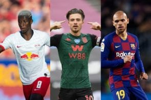 Amadou Haidara of RB Leipzig, Jack Grealish of Aston Villa, Martin Braithwaite of FC Barcelona