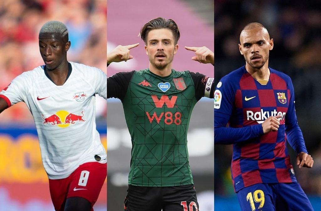 Amadou Haidara of RB Leipzig, Jack Grealish of Aston Villa, Martin Braithwaite of FC Barcelona