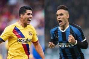 Luis Suarez of FC Barcelona, Lautaro Martinez of Inter Milan