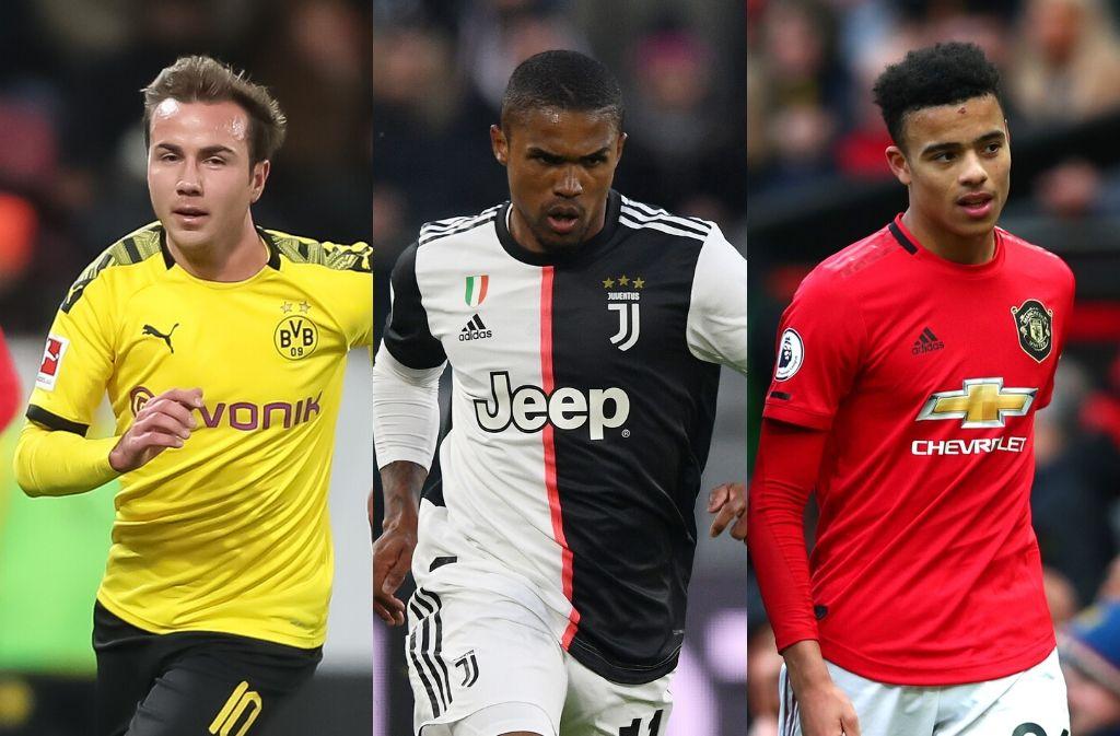 Mario Gotze, Douglas Costa of Juventus, Mason Greenwood of Manchester United