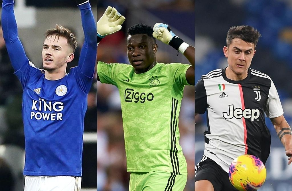 James Maddison of Leicester City, Andre Onana of Ajax, Paulo Dybala of Juventus