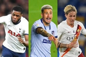 Japhet Tanganga of Tottenham, Jose Gimenez of Atletico Madrid, Nicolo Zaniolo of AS Roma