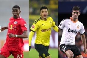 Nordi Mukiele of RB Leipzig, Jadon Sancho of Borussia Dortmund, Ferran Torres of Valencia