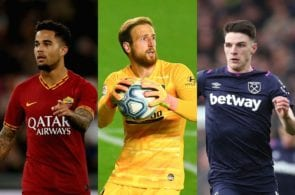 Justin Kluivert of AS Roma, Jan Oblak of Atletico Madrid, Declan Rice of West Ham United