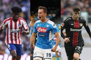 Thomas Partey of Atletico Madrid, Arkadiusz Milik of Napoli, Kai Havertz of Bayer Leverkusen