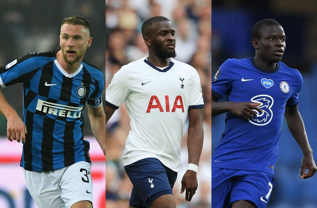 Milan Skriniar of Inter Milan, Tanguy Ndombele of Tottenham, N'Golo Kante of Chelsea