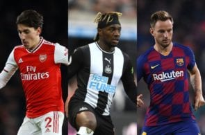 Hector Bellerin of Arsenal, Allan Saint-Maximin of Newcastle United, Ivan Rakitic of FC Barcelona
