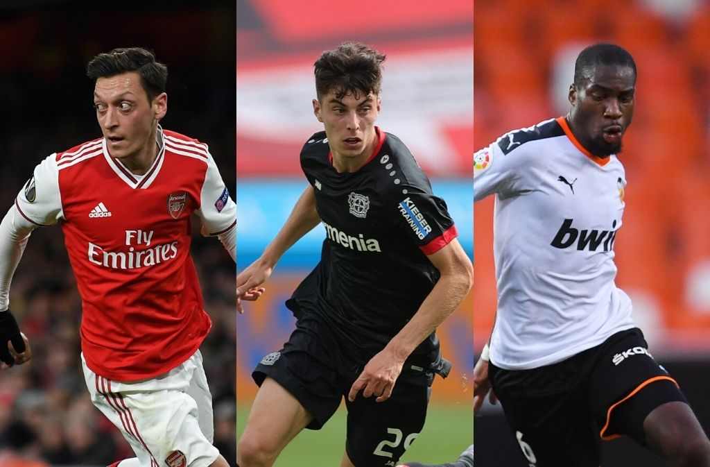 Mesut Ozil of Arsenal, Kai Havertz of Bayer Leverkusen, Geoffrey Kondogbia of Valencia