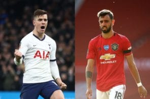 Giovani Lo Celso of Tottenham, Bruno Fernandes of Manchester United