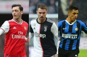 Mesut Ozil of Arsenal, Aaron Ramsey of Juventus, Alexis Sanchez of Inter Milan