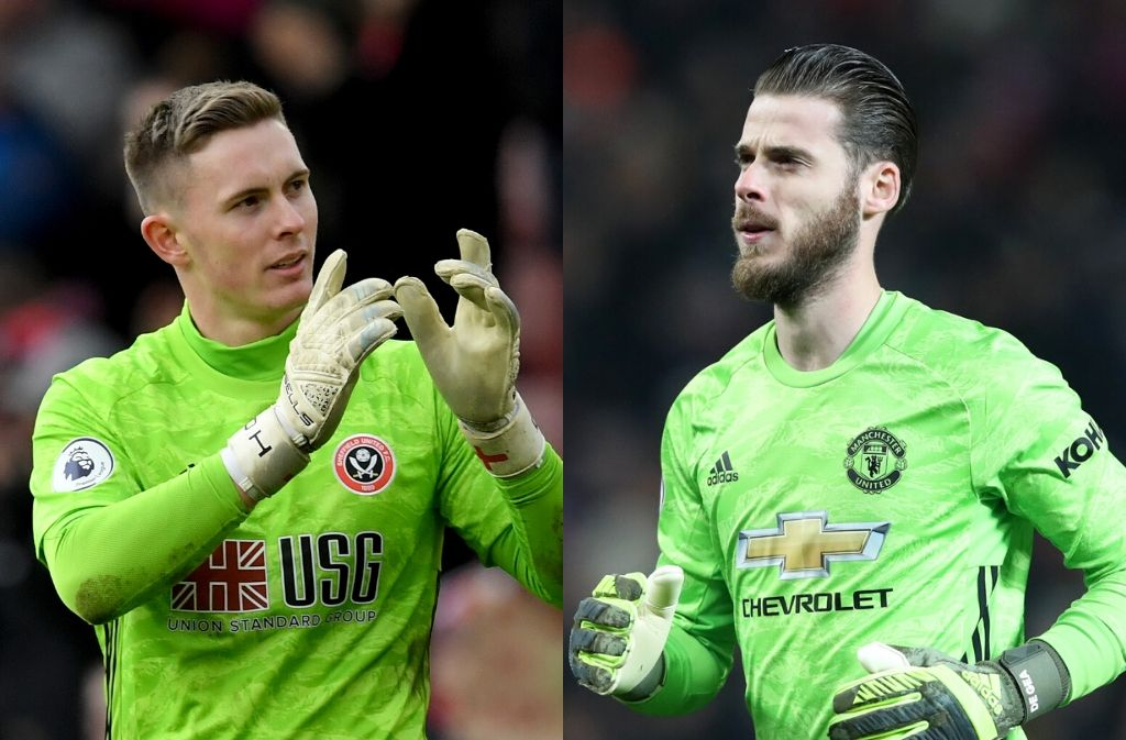 Dean Henderson of Sheffield United, David De Gea of Manchester United