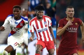 Wilfried Zaha of Crystal Palace, Thomas Partey of Atletico Madrid, Edin Dzeko of AS Roma