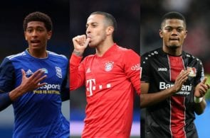 Jude Bellingham of Birmingham City, Thiago of Bayern Munich, Leon Bailey of Bayer Leverkusen