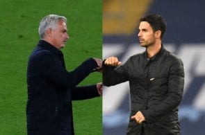 Jose Mourinho of Tottenham, Mikel Arteta of Arsenal