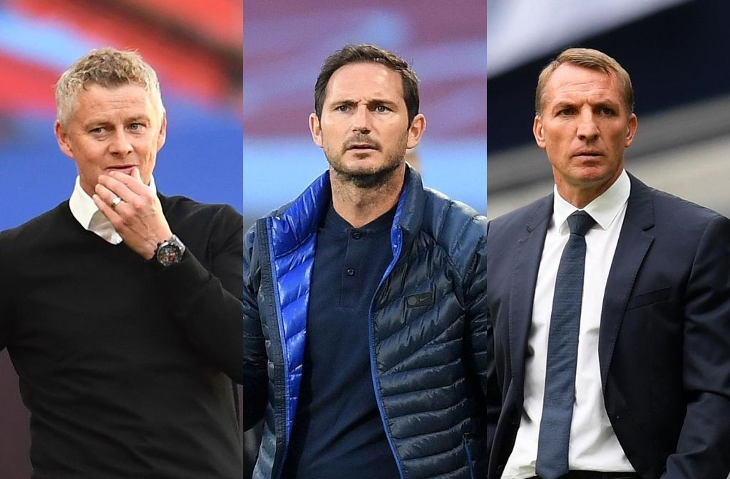 Ole Gunnar Solskjaer of Manchester United, Frank Lampard of Chelsea, Brendan Rodgers of Leicester City