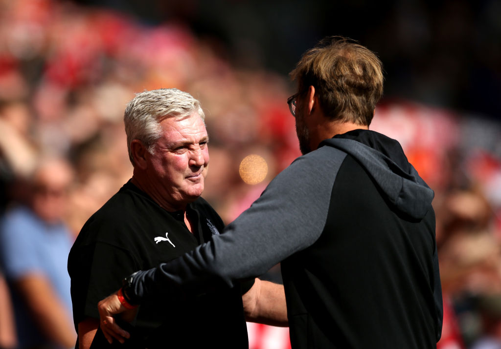 Steve Bruce of Newcastle United, Jurgen Klopp of Liverpool