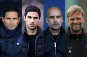 Frank Lampard, Mikel Arteta, Pep Guardiola, Jurgen Klopp