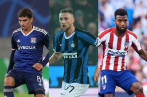 Houssem Aouar of Lyon, Milan Skriniar of Inter Milan, Thomas Lemar of Atletico Madrid,