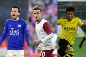 Ben Chilwell of Leicester City, Philippe Coutinho of FC Barcelona, Jadon Sancho of Borussia Dortmund