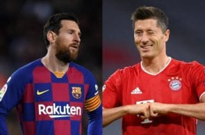Lionel Messi of FC Barcelona, Robert Lewandowski of Bayern Munich