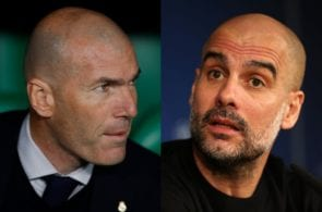 Zinedine Zindane of Real Madrid, Pep Guardiola of Manchester City