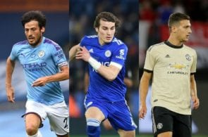 David Silva of Manchester City, Caglar Soyuncu of Leicester City, Diogo Dalot of Manchester United