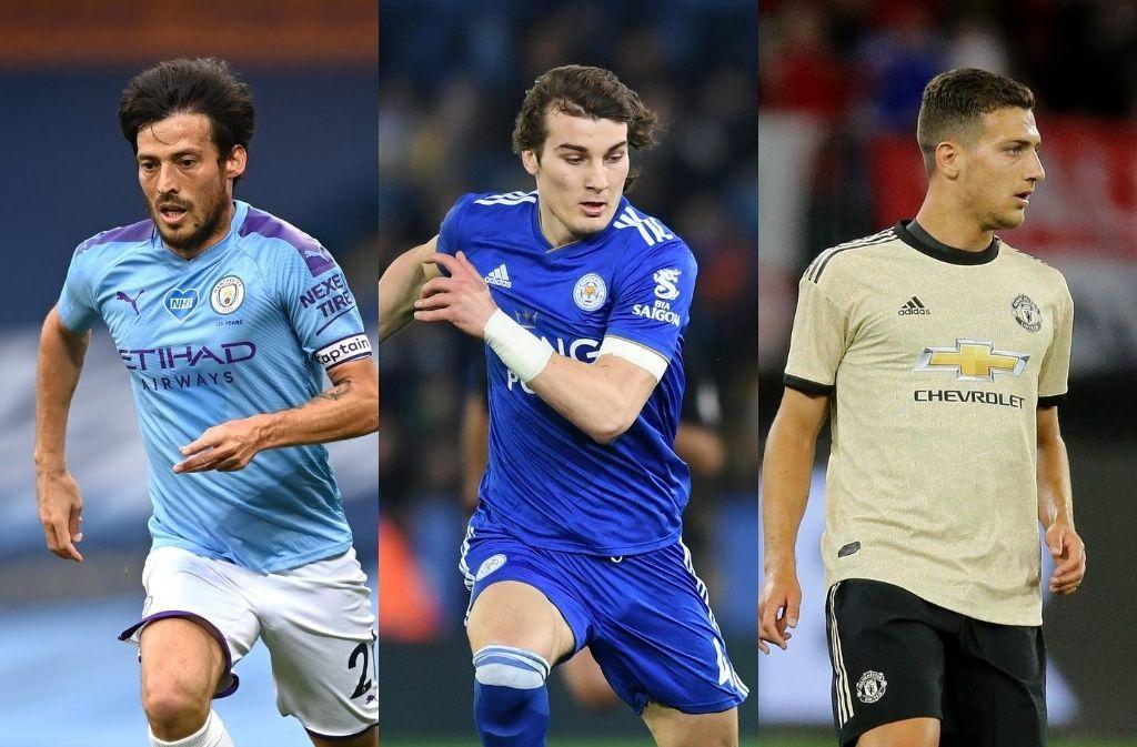 David Silva of Manchester City, Caglar Soyuncu of Leicester City, Diogo Dalot of Manchester United