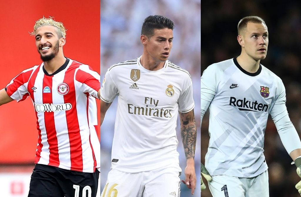 Said Benrahma of Brentford, James Rodriguez of Real Madrid, Marc Andre ter Stegen of FC Barcelona