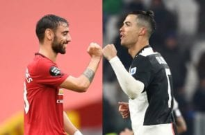 Bruno Fernandes of Manchester United, Cristiano Ronaldo of Juventus