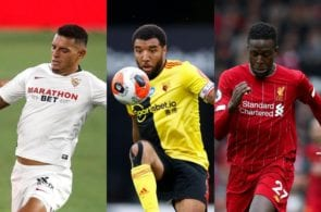 Diego Carlos of Sevilla, Troy Deeney of Watford, Divock Origi of Liverpool