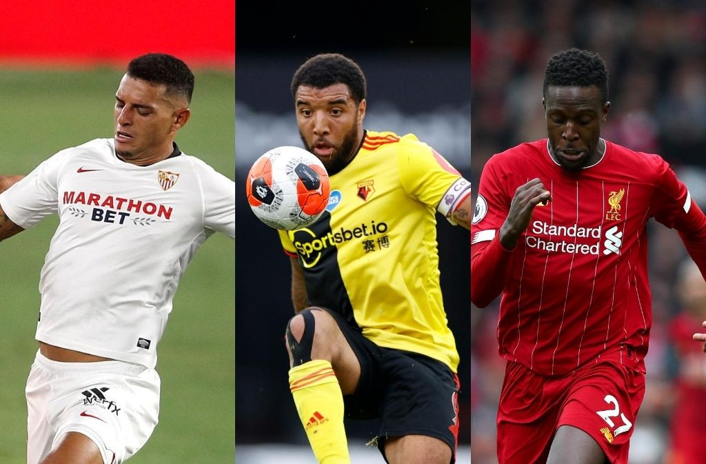Diego Carlos of Sevilla, Troy Deeney of Watford, Divock Origi of Liverpool